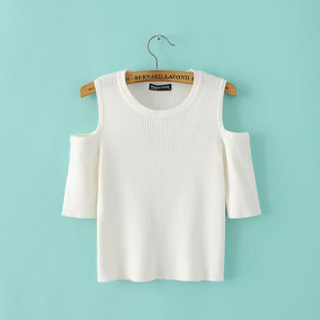 Summer Sexy Strapless Slim Knit Short Sleeve Pullover Tops [8173422855]