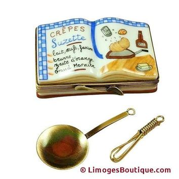 CREPES SUZETTES COOKBOOK..WITH WHISK AND PAN LIMOGES BOX