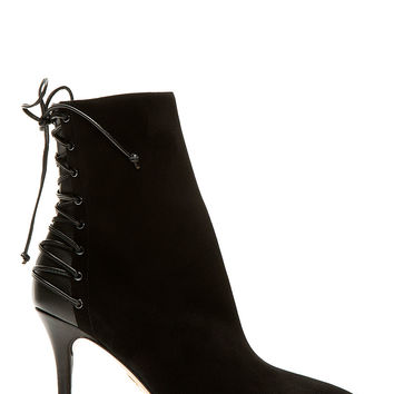 Charlotte Olympia Black Suede Lace-up Deborah Ankle Boots