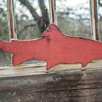 trout fish wall hanging wooden cut out boy room playroom fisherman office wall decor fun rainbow trout sign birthday gift idaho salmon river