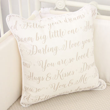 Square Pillow Cover - Love Letters Script Baby Bedding