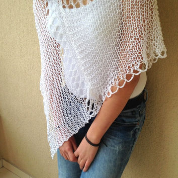 White linen wrap, hand knit poncho, women wear, white accessories, sweater poncho, beach cover up, multi purposes shawl, summer top