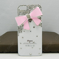 Pearl Porcelain bow pink bows white case iphone 5 case iphone 4 case   11 color choices