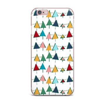 """bruxamagica """"Cute Colorful Christmas Tree"""" Multicolor White Pattern Holiday Illustration iPhone Case"""