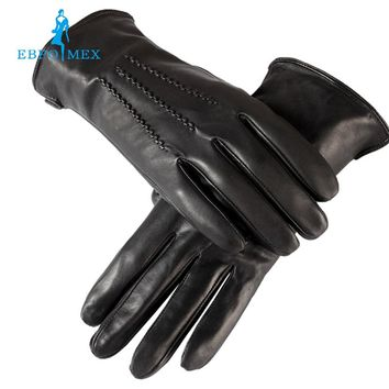 Sell well Gloves men ,Genuine Leather,leather men gloves,mens black gloves,Warm lined,Leather gloves men EBPOMEX