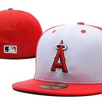LMF8KY Los Angeles Angels of Anaheim New Era 59FIFTY MLB Cap Red-White