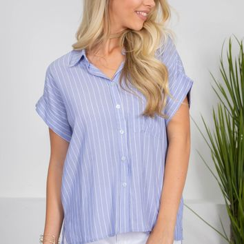 Grease Blue Striped Button-Up Top