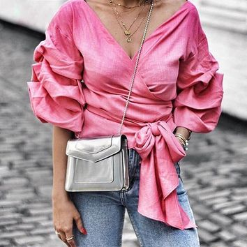 8DESS Ruffled off shoulder blouse shirt sexy ruched sleeve cool blouse Women waist tie cotton top tees