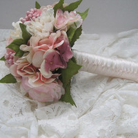 Mixed Bridal Bouquet with Hydrangea Peonies and Roses French Knotted Handle....Ready to Ship Bride Bridesmaid