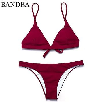 BANDEA 2018 sexy bikini solid color women swimwear bikini set swimsuit Very cheeky brazilian bottom Maillot De Bain Bikini