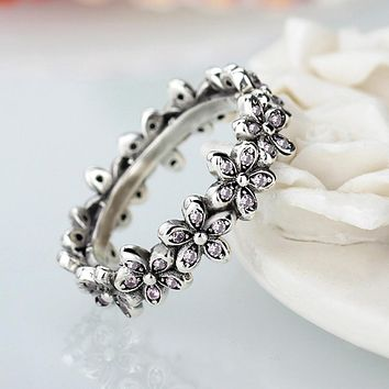 Fashion Flowers Pandora Finger Rings Clear CZ Dazzling Daisy Ring for Women Wedding Jewelry Accessories