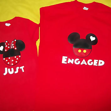 Just Engaged/Just Married Mickey and Minnie Couples Shirts