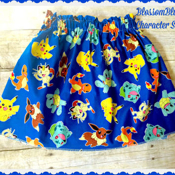 girls Pokemon skirt Pikachu charizard squirtle meowth size 2t 3t 4t 5t 6/6x 7/8 10/12 and 14/16