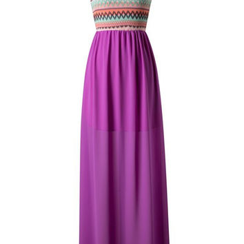 Zig Zag One Shouldered Maxi Dress - Orchid