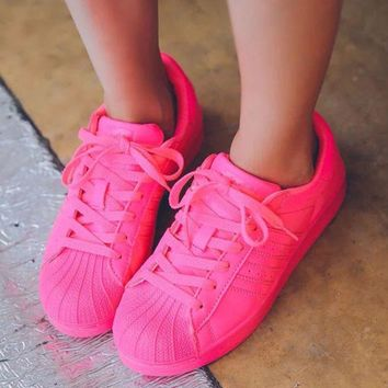 Adidas Shell-toe Sneakers Sport Shoes Pure Color Flats Roses