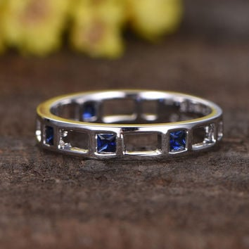 Blue Sapphire Rose Gold Wedding Band Anniversary Ring Bezel Hollow Set 14k Matching Full Eternity Design