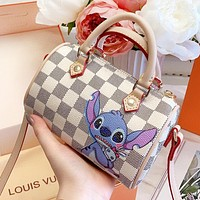Louis Vuitton LV New Women Shopping Bag Leather Cartoon Stitch Print Mini Handbag Tote Crossbody Satchel Shoulder Bag