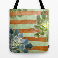 Copper Stripes and Succulents Tote Bag by Lisa Argyropoulos