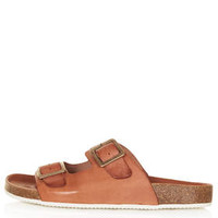 FANCIE Double Buckle Sandals - Tan