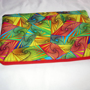 Zipper pouch, 70's retro psychedelic make up bag, red and green clutch bag, lined change purse, womens handmade bags, girls pencil case