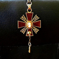 Fantasy queens pendant Game of Thrones inspired Gothic Iron Cross necklace Steampunk jewelry