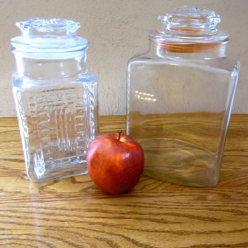 Square Clear Glass Canister Eclectic Set of Two Canisters Glass Apothecary Jar