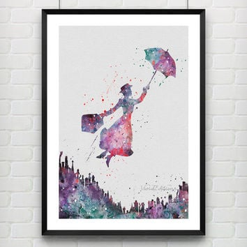 Mary Poppins Disney Watercolor Art Poster Print Baby Nursery Decor Kids Room De