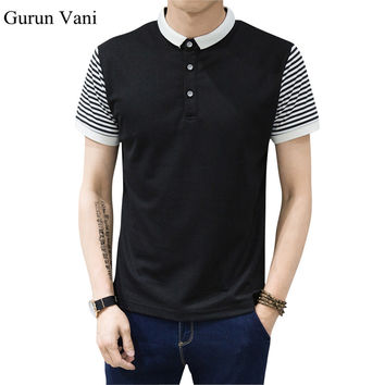 New 2017 Brand POLO Shirt Men Cotton Fashion Striped Patchwork Camisa Polo Summer Short-sleeve Trend Slim Casual Shirts