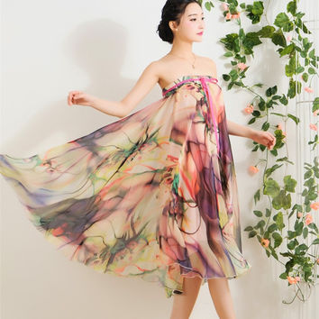 Quality Chiffon Skirt Colorful Print Bohemian Beach Summer Woman Fashion Clothes Vestidos Casual Female Party Long Maxi Skirts