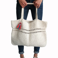 Beach Tote Bag Crochet Large Boho Purse // Day Tripper Bag in Papyrus // Many Colors Available