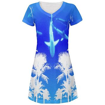Summer Shark Beach Party All Over Juniors Beach Cover-Up Dress