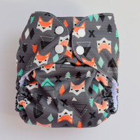 Geometric Scandinavian Fox OS Pocket Diaper, Waterproof Cover, One Size Nappy, WAHM, Woodland, Nature, Forest, Diamond, Baby Shower Gift