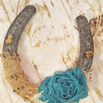 Good Luck Sparkly Horseshoe Wall Hanging, Shabby Chic Decor, Wedding Gift, Burlap Twine and Flower, Housewarming Gift