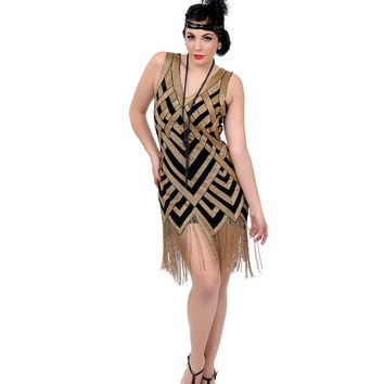 Unique Vintage 1920s Style Black & Gold Deco Beaded Forster Flapper Dress