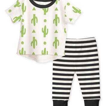 Green Cactus Top & Black Stripe Pants - Infant