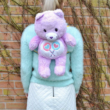 RARE Vintage Retro 1983 80s Plush Care Bear Share Bear Rainbow Kawaii Pastel Lilac Collectible Teddy Soft Toy Backpack Rucksack
