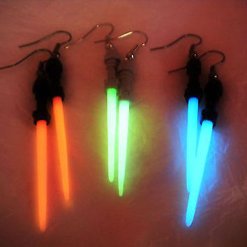 Lightsaber Earrings - Glow in the Dark Luminous Light Saber - Series Inspired Jewelry - Geek Jewelry