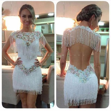 Luxury Mermaid Short Cocktail Dresses 2017 Sexy Scoop Backless Beaded Tassel robe de cocktail Cap Sleeves Girl Party Dress