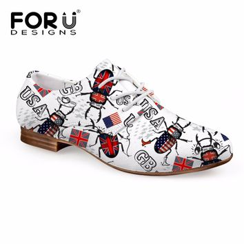 FORUDESIGNS Brand Women's Flats Casual Women Lace up Leather Oxfords Brogues Shoes Fashion Flags Patchwork Flat Shoes for Female
