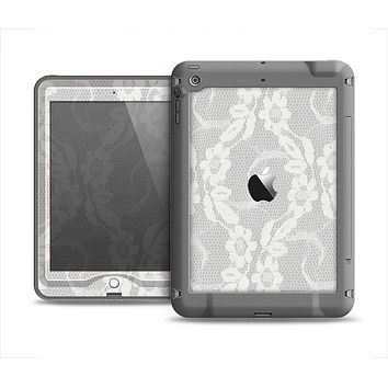 The White Floral Lace Apple iPad Air LifeProof Nuud Case Skin Set