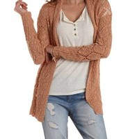 Nude Pink Diamond-Weave Open Knit Cardigan Sweater by Charlotte Russe