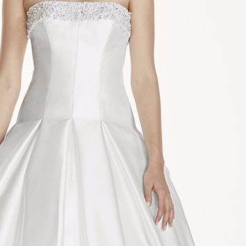 Jewel Mikado Wedding Dress with Beaded Neckline - Davids Bridal