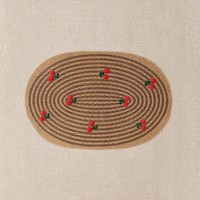 Embroidered Cherry Oval Rug | Urban Outfitters