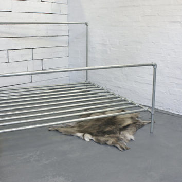 Galvanised Steel Pipe Super Kingsize Bed - Bespoke Urban Furniture by www.inspiritdeco.com