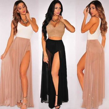 NEW Summer Women Girls Skirts Sexy  Chiffon Casual Party Evening  Beach Long Maxi  Skirts