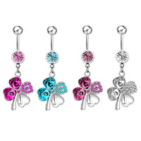 Four Leaf Clover Body Jewelry Belly Rings  | Pugster.com