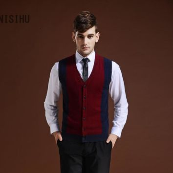 Hot Sale New Fashion Men's Sleeveless Sweater Cardigan V-neck Sweater Vest With Buttons and Pockets
