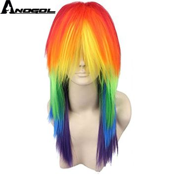 Anogol My Costume Little Pony Ponytail Style Rainbow Color Dash Yellow Pink Side Part Red Green Purple Cosplay Wig For Party
