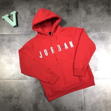 """Nike Air Jordan"" Unisex Letter Logo Print Hooded Long Sleeve Cotton Sweater Couple Sweatshirt Hoodie Tops"