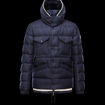 Moncler Men Wool-Trimmed Down-Quilted Coat